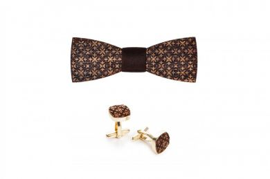 Wooden accessories Set Decorum, wooden bow ties and cufflinks