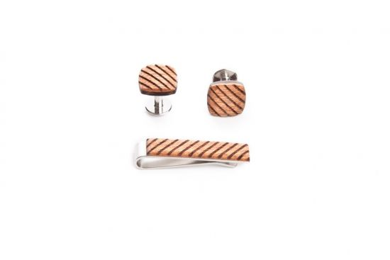 BeWooden - wooden set sull tie clip and cufflinks