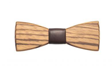 Dřevěný motýlek s koženým detailem Corra