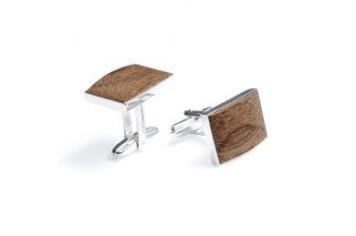 Luxusní dřevěné manžetové knoflíčky z pravého stříbra Apis Cuff