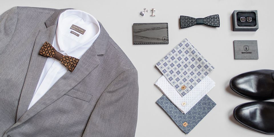 BeWooden - Collage of products pocket square Deco Dots card holder Tenebra wooden bow tie Taurum and cufflinks