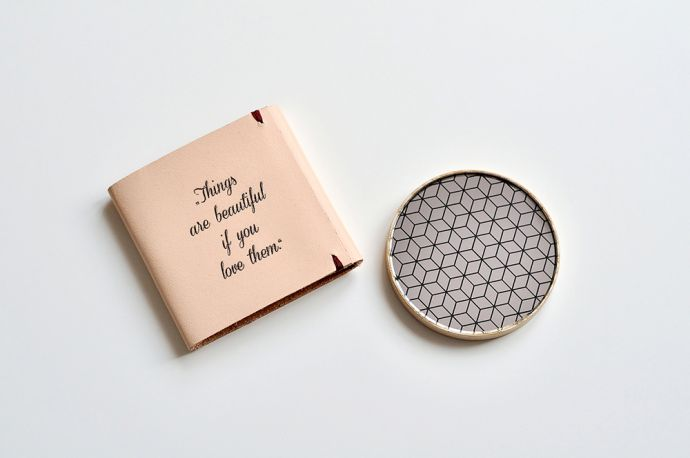 Wooden mirror in pink leather envelope with engraving