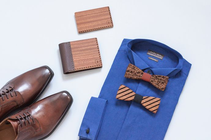 Photo of a blue shirt with wooden bow ties, the Red Virilia wooden wallet and cardholder