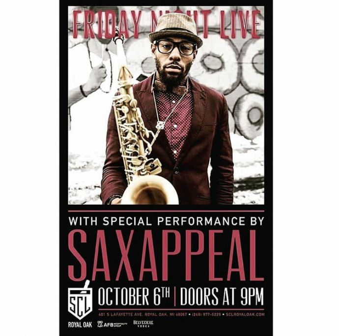 A poster of the musician Saxappeal with saxophone