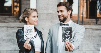 Rebellious wedding in black and white
