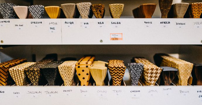 production of wooden bow ties in stock