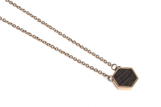BeWooden - Rose Necklace Hexagon